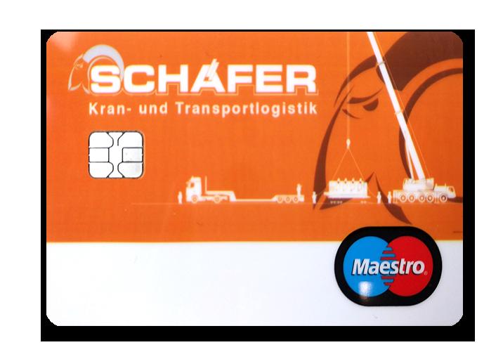 BenefitCard von Schäfer Kran- und Transportlogistik im Firmendesign